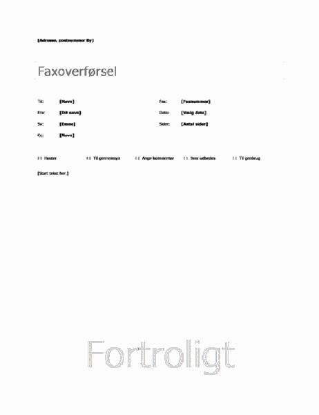 Standardforside til fax