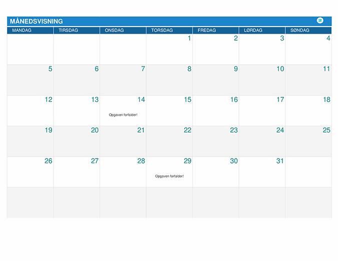 Planlægningskalender for elever