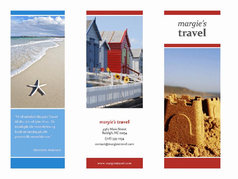 Trefløjet rejsebrochure (design med rød, guld, blå)