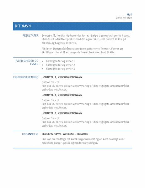 CV til intern firmaoverflytning