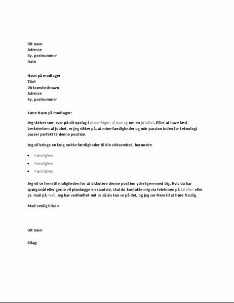Eksempel på følgebrev som svar på opslag om en teknisk stilling
