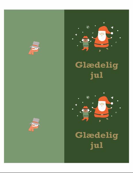 Julekort (design med julestemning, to pr. side, til Avery-papir)