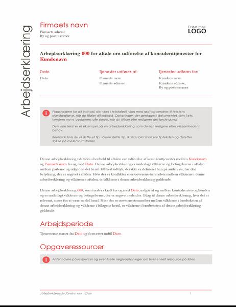 Arbejdserklæring (Red-design)