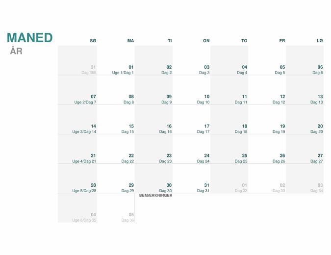 Juliansk kalender (hvilket som helst år)