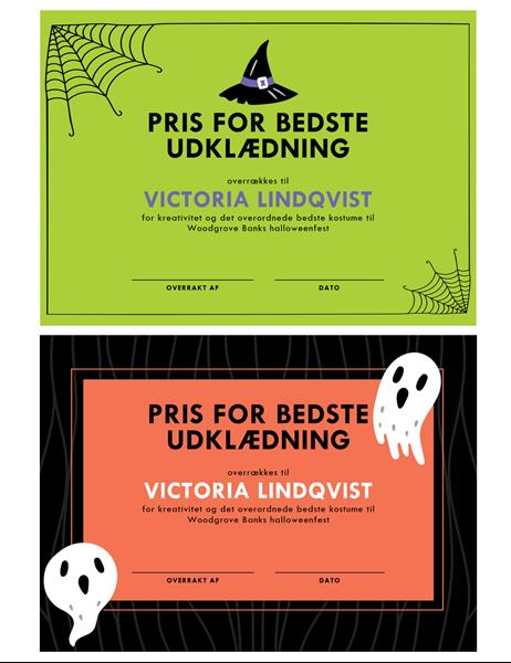 Præmie for Halloween-kostume