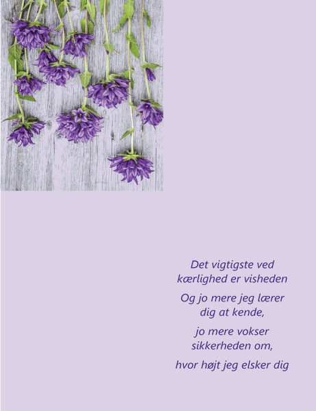 Valentinsdagskort med digte (dobbeltfoldet)