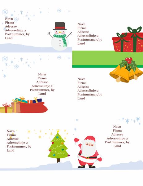 Forsendelsesmærkater til jul (design med julestemning, 6 pr. side, fungerer med Avery 5164 og lignende)