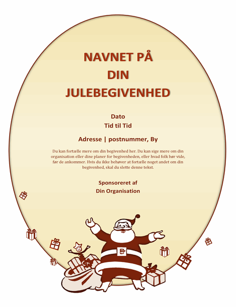 Løbeseddel for julearrangement