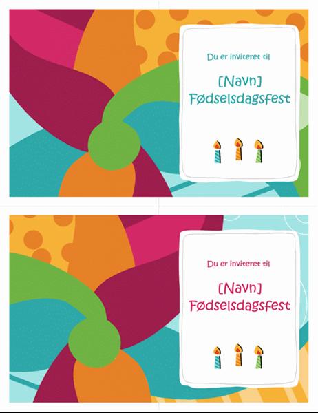 Kort med invitation til fødselsdagsfest (2 pr. side, klart design)