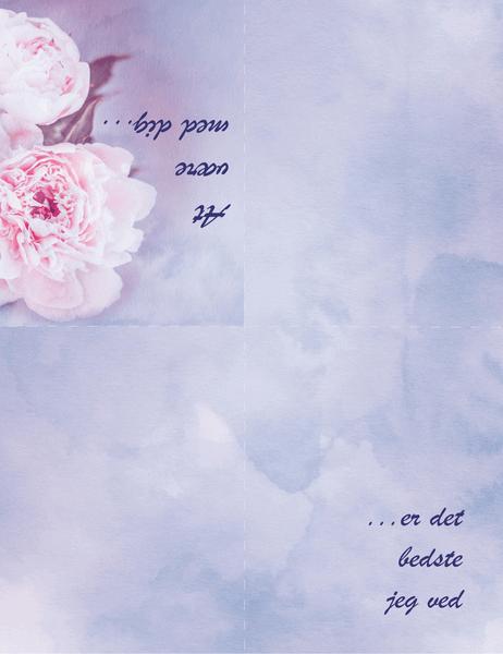 Kærlighedskort (med rose, dobbeltfoldet)