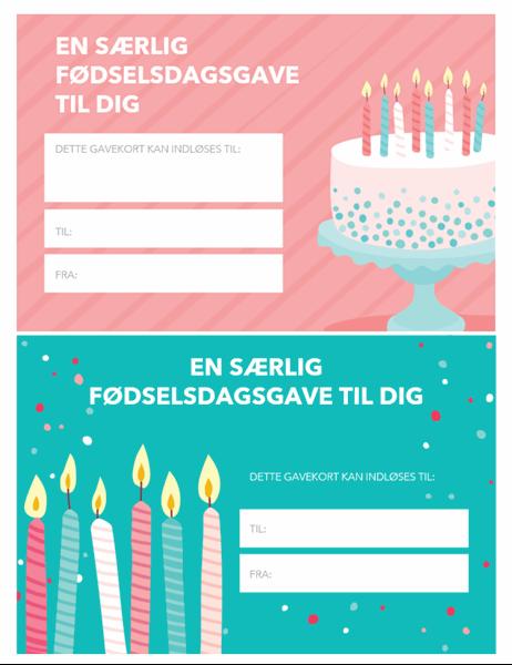 Fødselsdagsgavecertifikat (Lyst design)