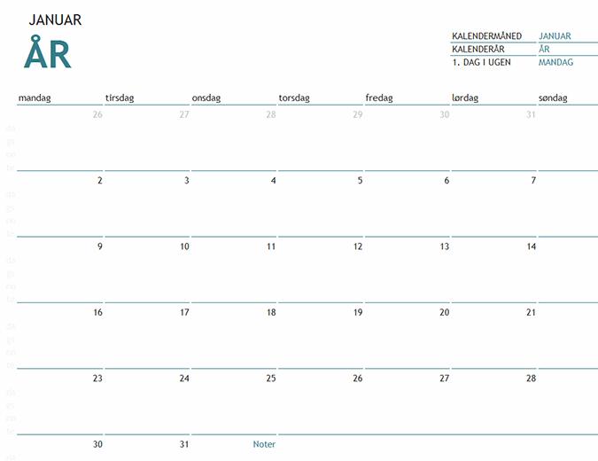 Månedskalender til et hvilket som helst år – med noter