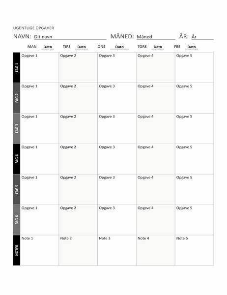 Ark til ugentlig opgaveplan