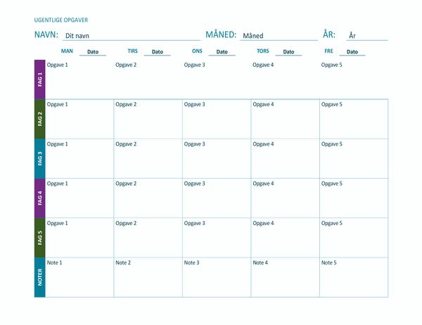 Ark til ugentlig opgaveplan (farve, liggende)