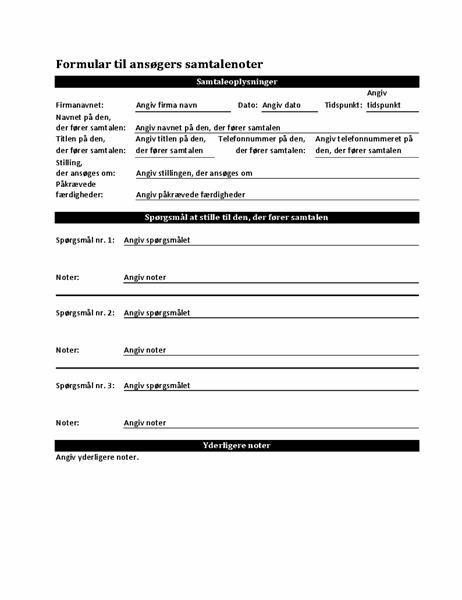 Ansøgers formular for samtalenoter