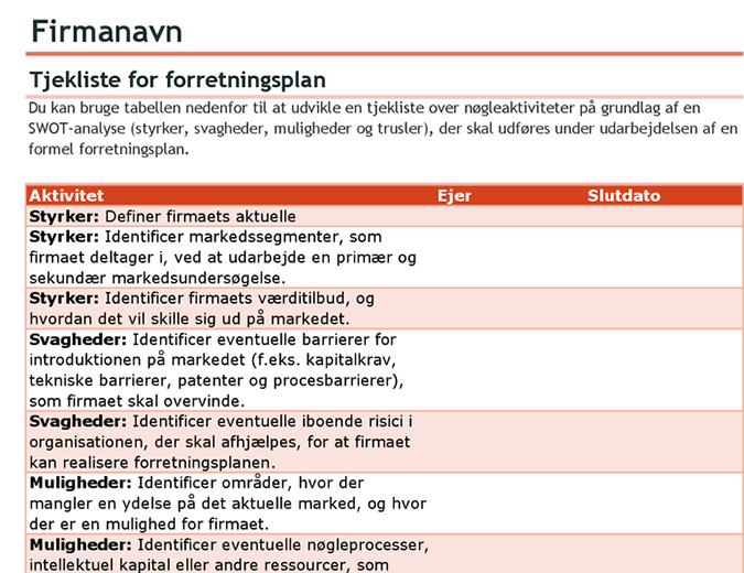 Tjekliste for forretningsplan med SWOT-analyse