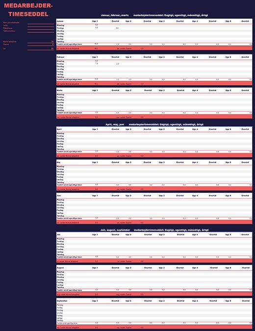Timeseddel for medarbejdere (ugentligt, månedligt, årligt)