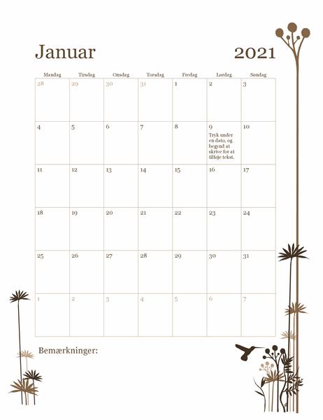 12-månedskalender med kolibri (man-søn)