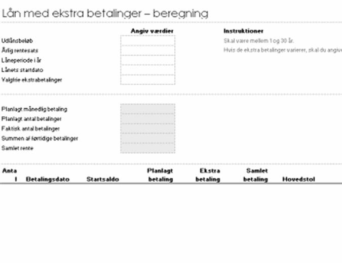 Beregning af lån med ekstra betalinger