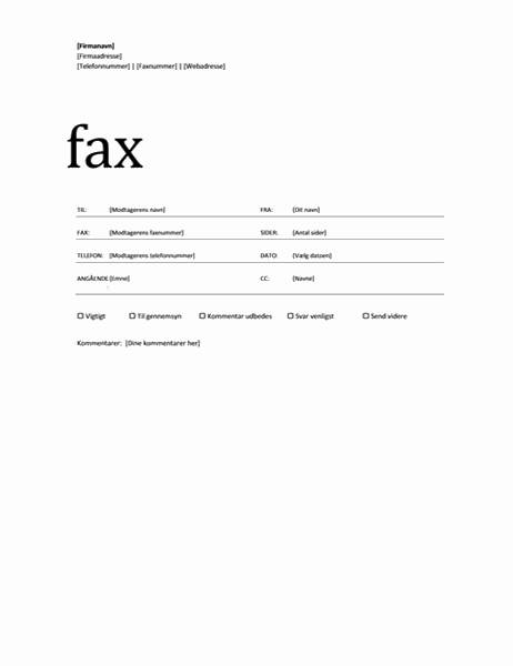 Faxforside (professionelt tema)