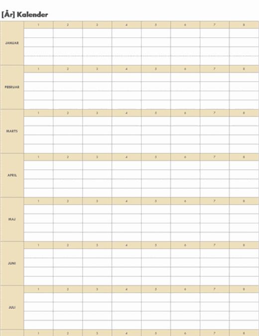Uendelig kalender (vandret)