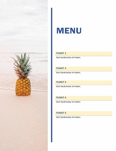 Festmenu (motiv med sol og sand)