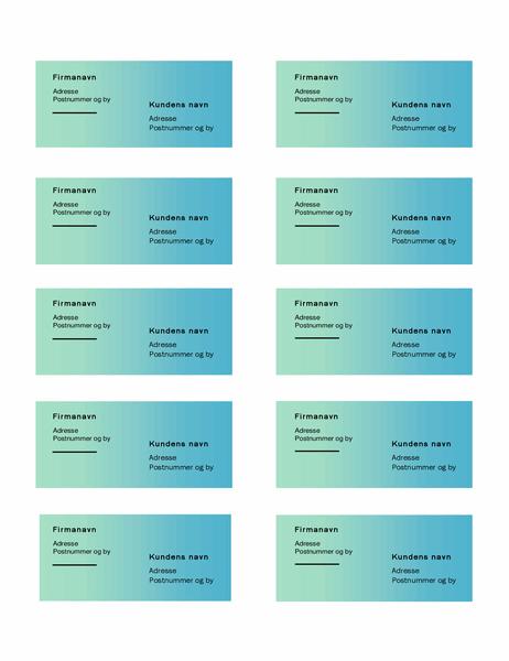 Forsendelsesmærkater (motiv med grøn graduering, 10 pr. side, fungerer sammen med Avery 5163)