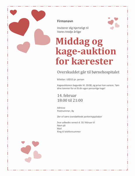Invitation til valentinsdagsmiddag- og kageauktion for kærester: