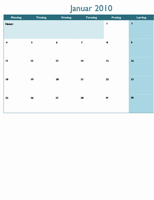 Kalender for 2010 på flere regneark (12 sider, man-søn)