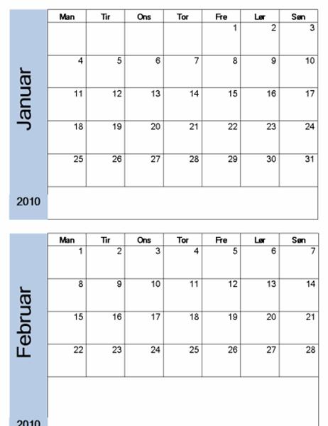 Kalender for 2010 med blå kant (6 sider, man-søn)