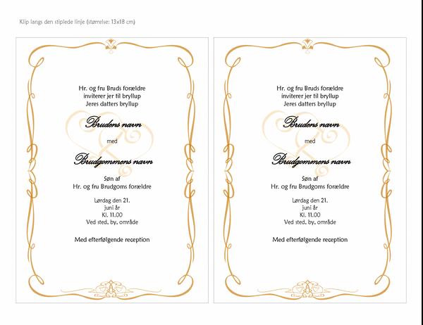 Bryllupsinvitationer (hjertetegningsdesign, A7-størrelse, 2 pr. side)