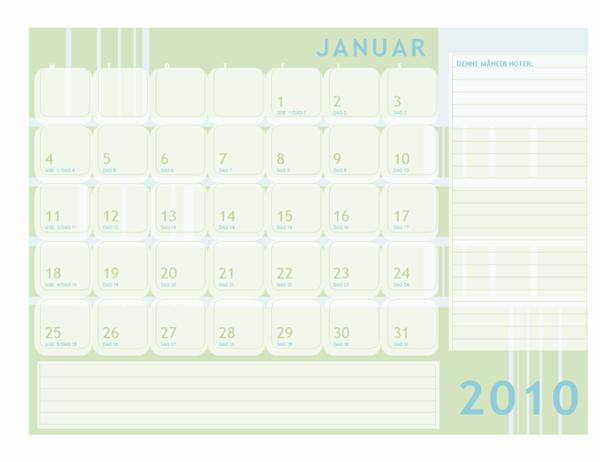 Juliansk kalender for 2010 (man-søn)