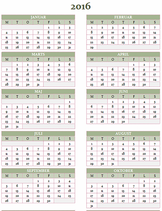 Årskalender for 2016-2025 (man-søn)