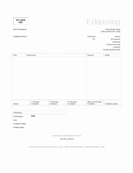 Faktureringsopgørelse (designet Grøn)