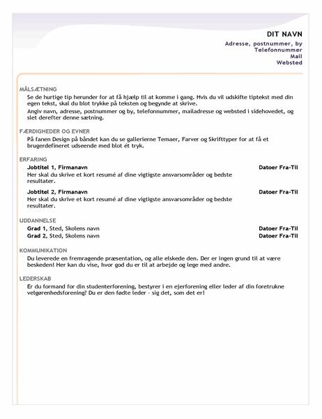 CV til nyansættelse