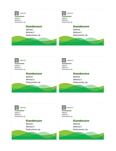 Forsendelsesmærkater (design med grøn bølge, seks pr. side)