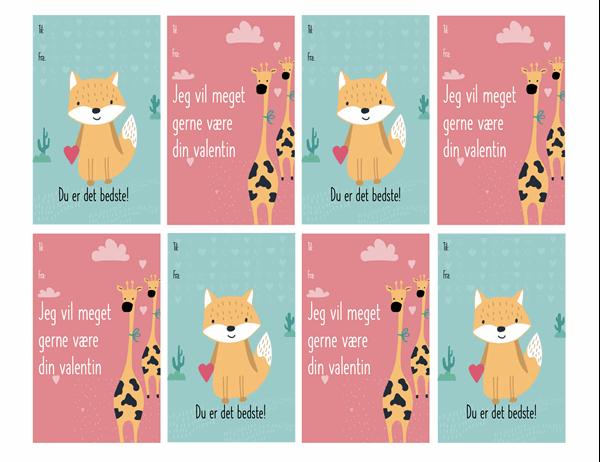 Kort til Valentinsdag for børn