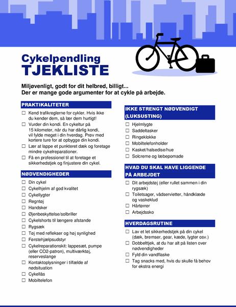 Tjekliste til cykelpendling