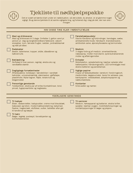 Tjekliste til nødhjælpspakke