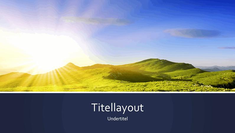 Blåstribet natur-præsentation med solopgangsbillede med bjerg (widescreen)