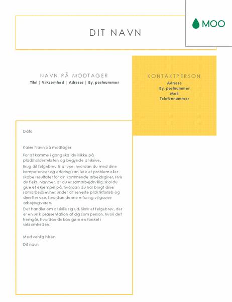Rent og klart følgebrev – udformet af MOO