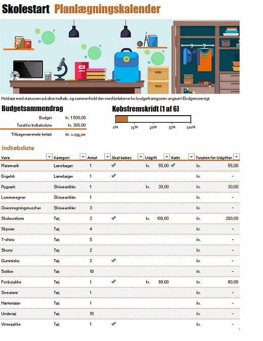 Planlægningskalender for Skolestart