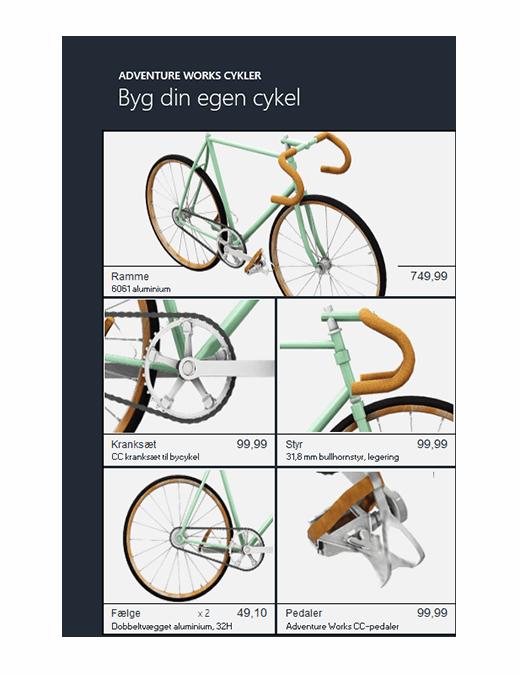 Excel-produktkatalog i 3D (cykelmodel)