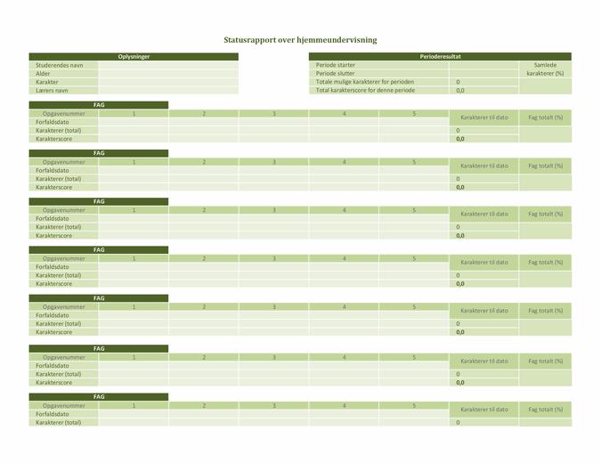 Statusrapport over hjemmeundervisning