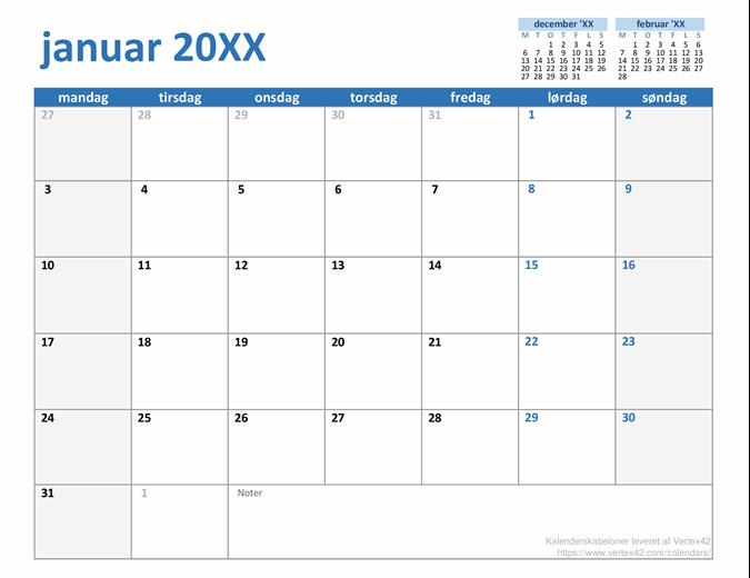 Brugerdefineret kalender for et hvilket som helst år