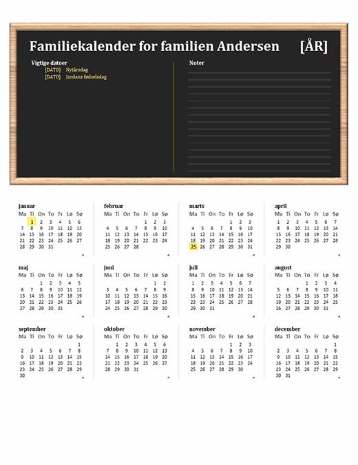 Familiekalender (ethvert år, man-søn)