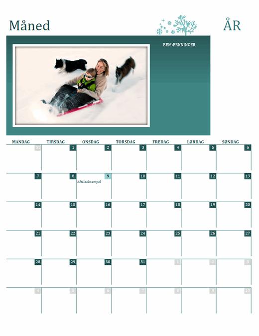 Årstidsbestemt familiekalender (alle år, man-søn)