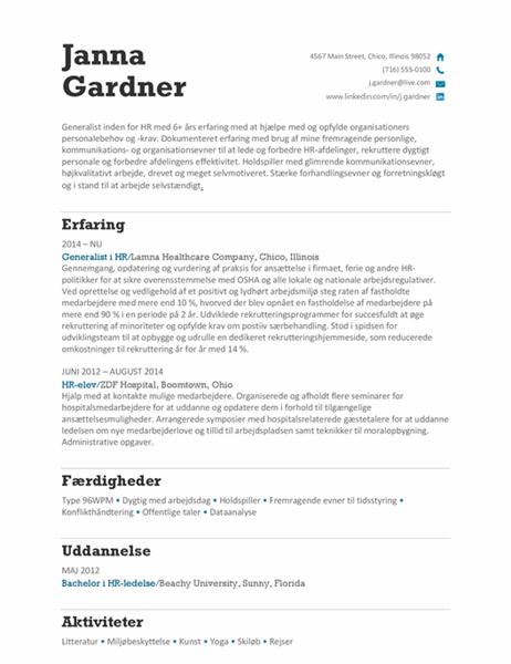 HR-orienteret CV