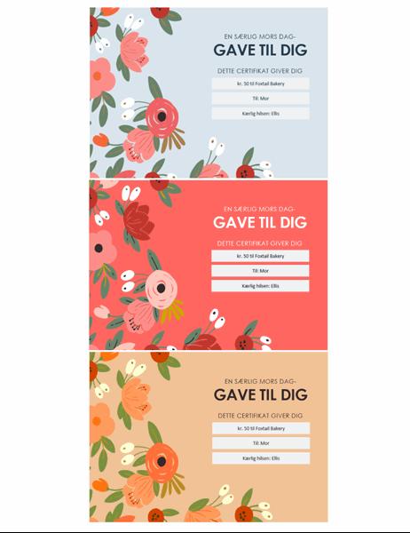 Elegante gavekort med blomstertegniner til mors dag