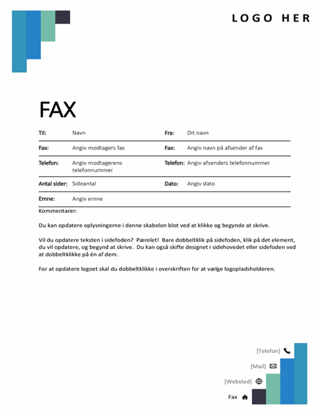 Faxforside med blå trin